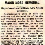 Newspaper Clipping 4– Description of 1916 Memorial Service for Major Charles A. Moss held at St. James Cathedral on King Street West in Toronto.
