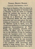 Biography– Memorial from the Great War 1914-1918: a record of service published by the Bank of Montreal 1921.