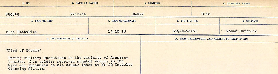 Circumstances of Death– Source: Library and Archives Canada.  CIRCUMSTANCES OF DEATH REGISTERS, FIRST WORLD WAR Surnames:  Bark to Bazinet. Mircoform Sequence 6; Volume Number 31829_B016716. Reference RG150, 1992-93/314, 150.  Page 513 of 1058.