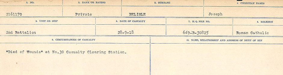 Circumstances of Death Registers– Source: Library and Archives Canada.  CIRCUMSTANCES OF DEATH REGISTERS FIRST WORLD WAR Surnames:  Bea to Belisle. Mircoform Sequence 7; Volume Number 31829_B016717. Reference RG150, 1992-93/314, 151.  Page 721 of 724.