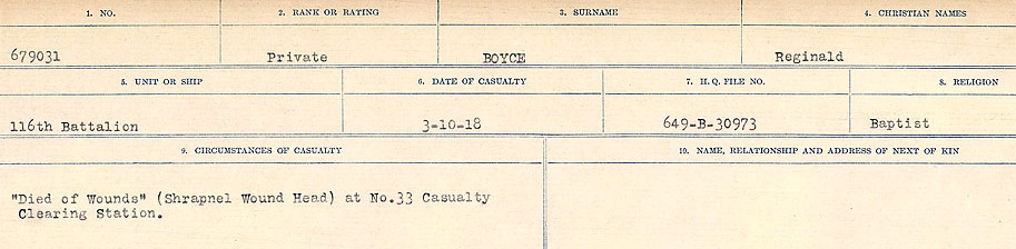 Circumstances of Death Registers– Source: Library and Archives Canada.  CIRCUMSTANCES OF DEATH REGISTERS FIRST WORLD WAR Surnames: Border to Boys. Mircoform Sequence 12; Volume Number 131829_B016721; Reference RG150, 1992-93/314, 156 Page 765 of 934.