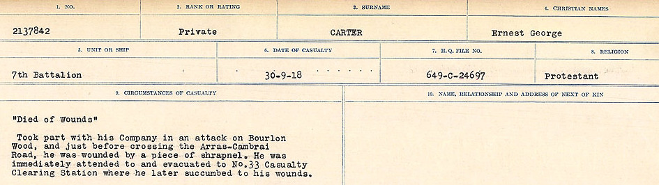 Circumstances of Death Registers– Source: Library and Archives Canada.  CIRCUMSTANCES OF DEATH REGISTERS, FIRST WORLD WAR Surnames:  Canavan to Caswell. Microform Sequence 18; Volume Number 31829_B016727. Reference RG150, 1992-93/314, 162.  Page 669 of 1004.
