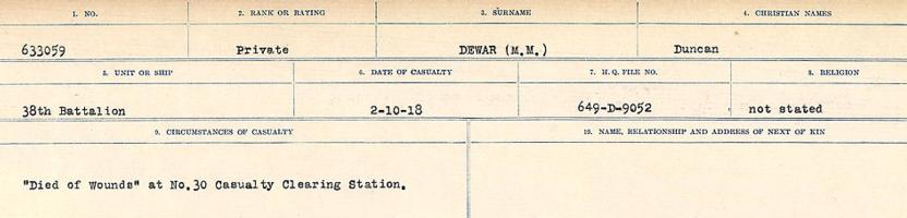 Circumstances of death registers– Source: Library and Archives Canada. CIRCUMSTANCES OF DEATH REGISTERS, FIRST WORLD WAR. Surnames: Deuel to Domoney. Microform Sequence 28; Volume Number 31829_B016737. Reference RG150, 1992-93/314, 172. Page 119 of 1084.