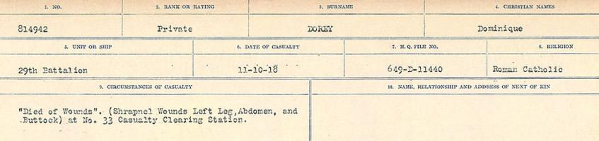 Circumstances of death registers– Source: Library and Archives Canada. CIRCUMSTANCES OF DEATH REGISTERS, FIRST WORLD WAR. Surnames: Don to Drzewiecki. Microform Sequence 29; Volume Number 31829_B016738. Reference RG150, 1992-93/314, 173. Page 263 of 1076.