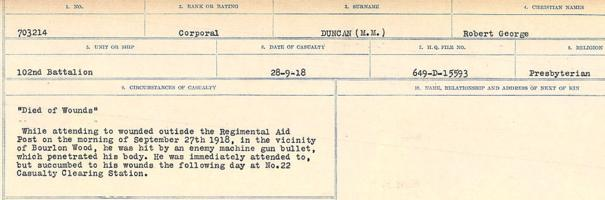 Circumstances of death registers– Source: Library and Archives Canada. CIRCUMSTANCES OF DEATH REGISTERS, FIRST WORLD WAR. Surnames: Duane to Dzhobiewski. Microform Sequence 30; Volume Number 31829_B016739. Reference RG150, 1992-93/314, 174. Page 469 of 1062.
