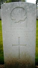 Grave Marker– Grave marker for Dvr Hugh Moss, Gananoque, Ont.  Photo courtesy of Wilf Schofield, England.