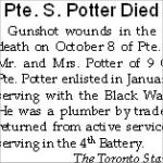 Newspaper Clipping– The online attestation for Pte. Sidney Potter indicates that he enlisted in June 1915.