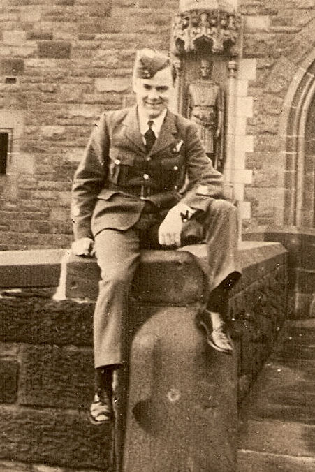 Photo of Donald Grant Goodfellow– P/O Donald Grant Goodfellow (J/19853) on the wall at Edinburgh Castle, while on leave to Edinburgh, Scotland, November, 1943.