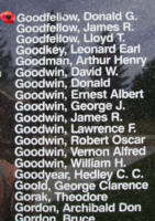 Memorial– Pilot Officer Donald Grant Goodfellow is also commemorated on the Bomber Command Memorial Wall in Nanton, AB … photo courtesy of Marg Liessens