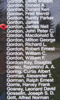 Memorial– Sergeant James Neil Gordon is also commemorated on the Bomber Command Memorial Wall in Nanton, AB … photo courtesy of Marg Liessens