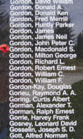 Memorial– Flying Officer Macdonald Stuart Gordon is also commemorated on the Bomber Command Memorial Wall in Nanton, AB … photo courtesy of Marg Liessens