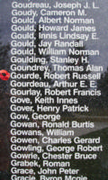 Memorial– Flight Sergeant Robert Russell Gourde is also commemorated on the Bomber Command Memorial Wall in Nanton, AB … photo courtesy of Marg Liessens