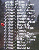 Memorial– Warrant Officer Class I Harold Richmond Graham is also commemorated on the Bomber Command Memorial Wall in Nanton, AB … photo courtesy of Marg Liessens