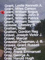 Memorial– Flying Officer William Angus Grant is also commemorated on the Bomber Command Memorial Wall in Nanton, AB … photo courtesy of Marg Liessens