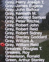 Memorial– Warrant Officer Class II William Reid Gray is also commemorated on the Bomber Command Memorial Wall in Nanton, AB … photo courtesy of Marg Liessens