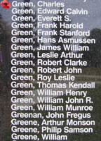 Memorial– Sergeant Charles Green is also commemorated on the Bomber Command Memorial Wall in Nanton, AB … photo courtesy of Marg Liessens