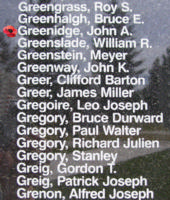 Memorial– Pilot Officer John Alexander Greenidge is also commemorated on the Bomber Command Memorial Wall in Nanton, AB … photo courtesy of Marg Liessens
