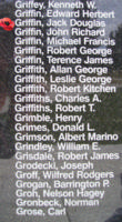 Memorial– Pilot Officer Jack Douglas Griffin is also commemorated on the Bomber Command Memorial Wall in Nanton, AB … photo courtesy of Marg Liessens