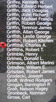 Memorial– Pilot Officer Charles Anthony Griffiths is also commemorated on the Bomber Command Memorial Wall in Nanton, AB … photo courtesy of Marg Liessens