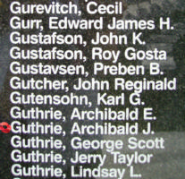 Memorial– Squadron Leader Archibald John Guthrie is also commemorated on the Bomber Command Memorial Wall in Nanton, AB … photo courtesy of Marg Liessens