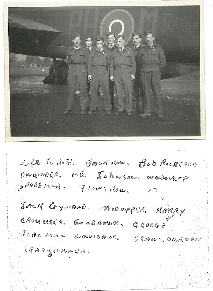 Group Photo– I have had this picture of my Uncle Keith Hanbidge's WWII Lancaster Crew with some of my grandmothers things for years.  Today I took it out of the cover it was in and saw that Keith had written all the names on the back of the photo.  Unfortunately there is no date.