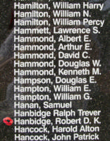 Memorial– Flying Officer Robert Donald Keith Hanbidge is also commemorated on the Bomber Command Memorial Wall in Nanton, AB … photo courtesy of Marg Liessens