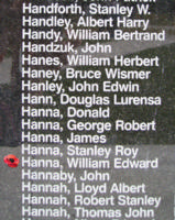 Memorial– Flying Officer William Edward Hanna is also commemorated on the Bomber Command Memorial Wall in Nanton, AB … photo courtesy of Marg Liessens