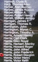 Memorial– Flying Officer Robert Douglas Harris is also commemorated on the Bomber Command Memorial Wall in Nanton, AB … photo courtesy of Marg Liessens