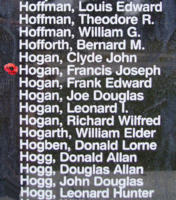 Memorial– Flight Sergeant Francis Joseph Hogan is also commemorated on the Bomber Command Memorial Wall in Nanton, AB … photo courtesy of Marg Liessens