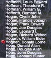 Memorial– Warrant Officer Class II Donald Lorne Hogben is also commemorated on the Bomber Command Memorial Wall in Nanton, AB … photo courtesy of Marg Liessens