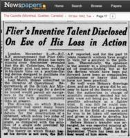 Newspaper clipping– Flier's Inventive Talent Disclosed on Eve of his loss in Action