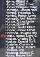 Memorial– Pilot Officer Russel Lloyd George Hosea is also commemorated on the Bomber Command Memorial Wall in Nanton, AB … photo courtesy of Marg Liessens