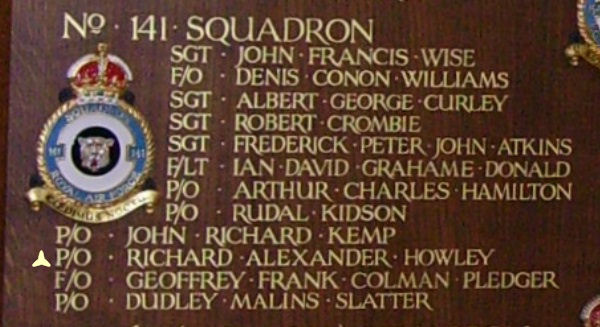 Inscription– Pilot Officer Richard Alexander Howley is also commemorated at St George's Royal Air Force Chapel of Remembrance - Biggin Hill … name on the panels that surround the Altar … Photo courtesy of Marg Liessens