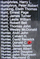 Memorial– Warrant Officer Class I Donald Campbell Hunter is also commemorated on the Bomber Command Memorial Wall in Nanton, AB … photo courtesy of Marg Liessens
