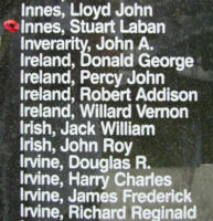 Memorial– Sergeant Stuart Laban Innes is also commemorated on the Bomber Command Memorial Wall in Nanton, AB … photo courtesy of Marg Liessens