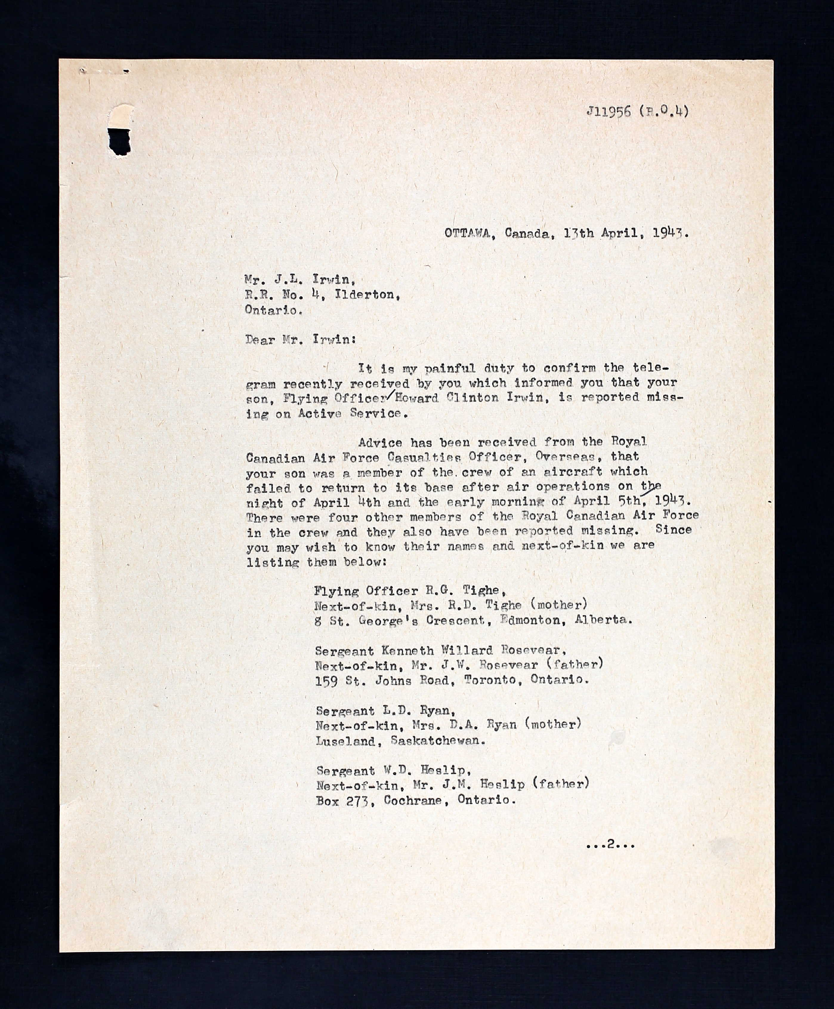 Letter– First page of a letter to F/O Irwin's father from an RCAF casualties officer, dated 13 April 1943.