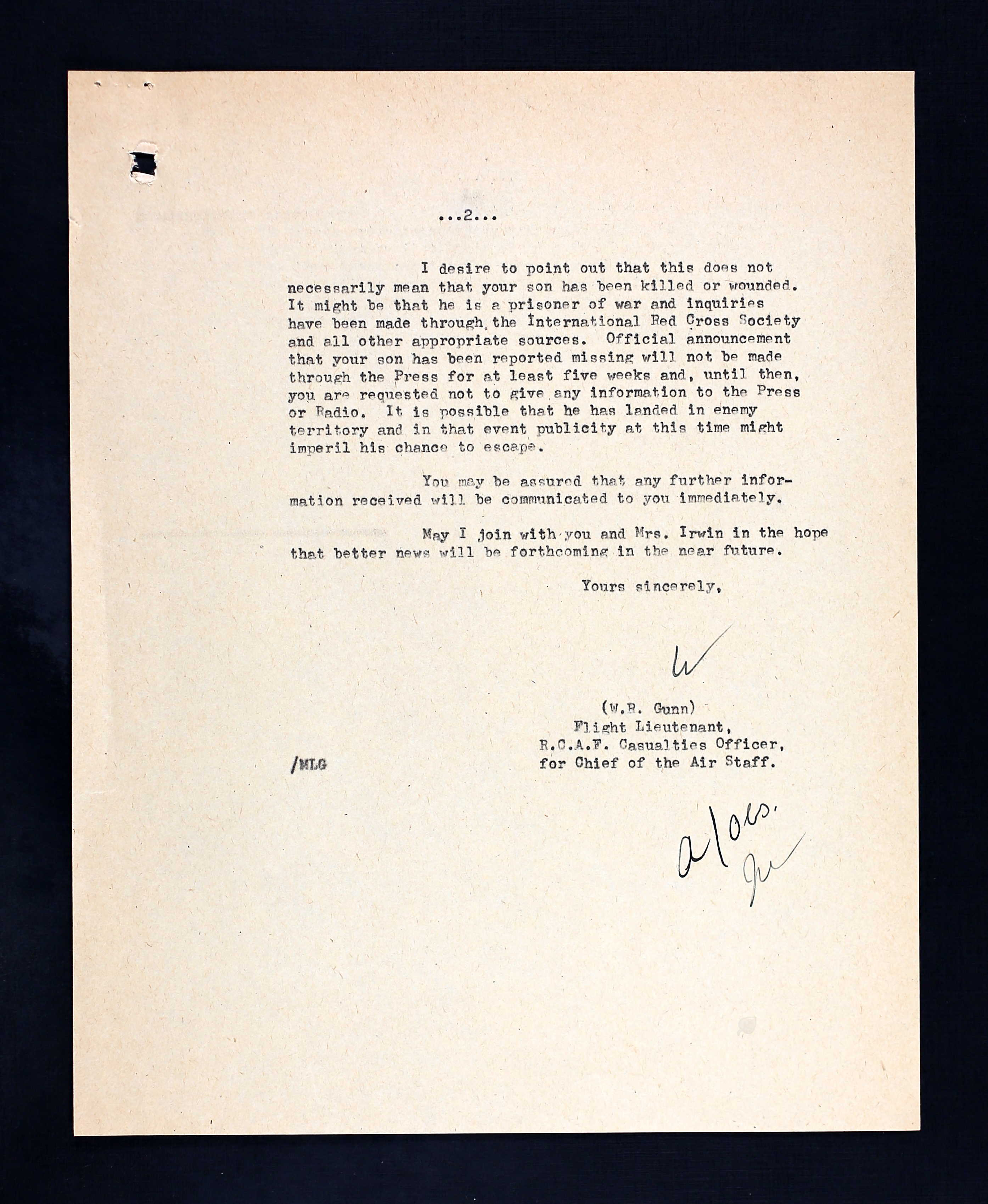 Letter– Second page of a letter to F/O Irwin's father from an RCAF casualties officer, dated 13 April 1943.