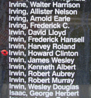 Memorial– Flying Officer Howard Clinton Irwin is also commemorated on the Bomber Command Memorial Wall in Nanton, AB … photo courtesy of Marg Liessens