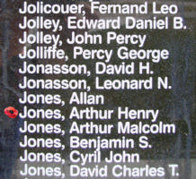 Memorial– Flight Sergeant Arthur Henry Jones is also commemorated on the Bomber Command Memorial Wall in Nanton, AB … photo courtesy of Marg Liessens