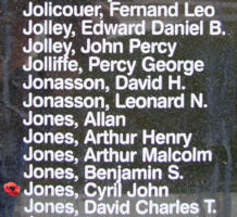 Memorial– Flying Officer Cyril John Jones is also commemorated on the Bomber Command Memorial Wall in Nanton, AB … photo courtesy of Marg Liessens