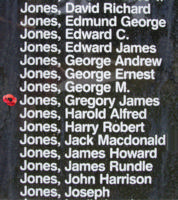 Memorial– Pilot Officer Gregory James Jones is also commemorated on the Bomber Command Memorial Wall in Nanton, AB … photo courtesy of Marg Liessens