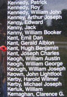 Memorial– Flying Officer Hugh Benjamin Kent is also commemorated on the Bomber Command Memorial Wall in Nanton, AB … photo courtesy of Marg Liessens