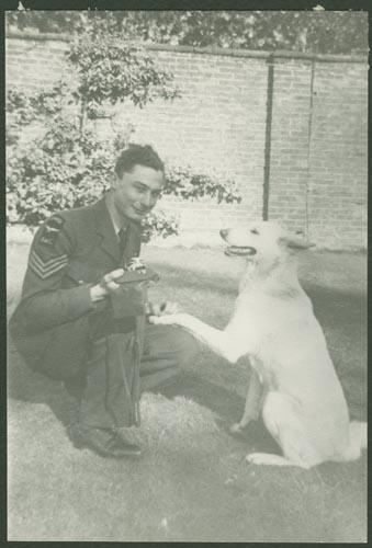 Photo of LOUIS NOEL LYNDON KERR– Warrant Officer Class II Louis Noel Lyndon Kerr and dog courtesy McGill University archives