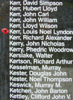 Memorial– Warrant officer Class II Louis Noel Lyndon Kerr is also commemorated on the Bomber Command Memorial Wall in Nanton, AB … photo courtesy of Marg Liessens