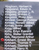 Memorial– Flying Officer Ernest Bruce Kirkham is also commemorated on the Bomber Command Memorial Wall in Nanton, AB … photo courtesy of Marg Liessens