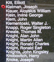 Memorial– Flying Officer Joseph Klatman is also commemorated on the Bomber Command Memorial Wall in Nanton, AB … photo courtesy of Marg Liessens