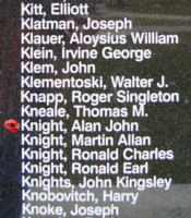 Memorial– Flight Sergeant Alan John Knight is also commemorated on the Bomber Command Memorial Wall in Nanton, AB … photo courtesy of Marg Liessens