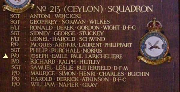 Inscription– Pilot Officer Joseph Emile Paul Laricheliere is also commemorated at St George's Royal Air Force Chapel of Remembrance - Biggin Hill … name on the panels that surround the Altar … Photo courtesy of Marg Liessens