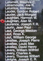 Memorial– Pilot Officer Alan Macneiley Laughland as commemorated on the Bomber Command Memorial Wall in Nanton, AB … photo courtesy of Marg Liessens
