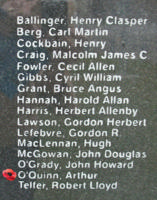 Memorial– Sergeant Arthur O'Quinn is also commemorated on the Bomber Command Memorial Wall in Nanton, AB … photo courtesy of Marg Liessens